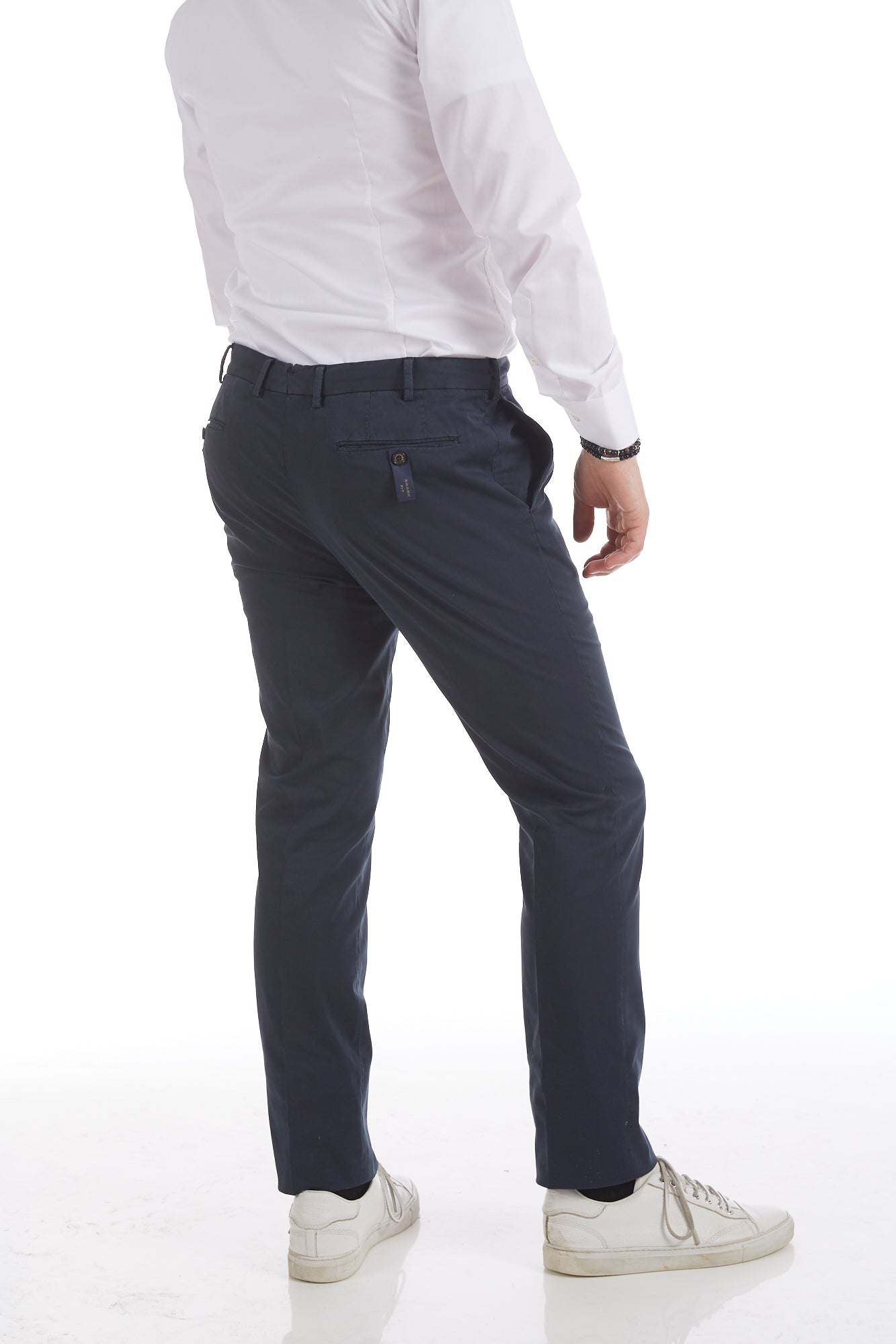 Paul & Shark Cotton-Silk Navy Stretch Chinos Back