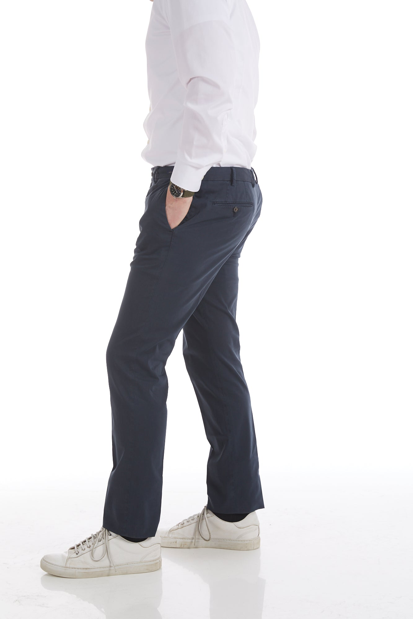 Paul & Shark Cotton-Silk Navy Stretch Chinos Side