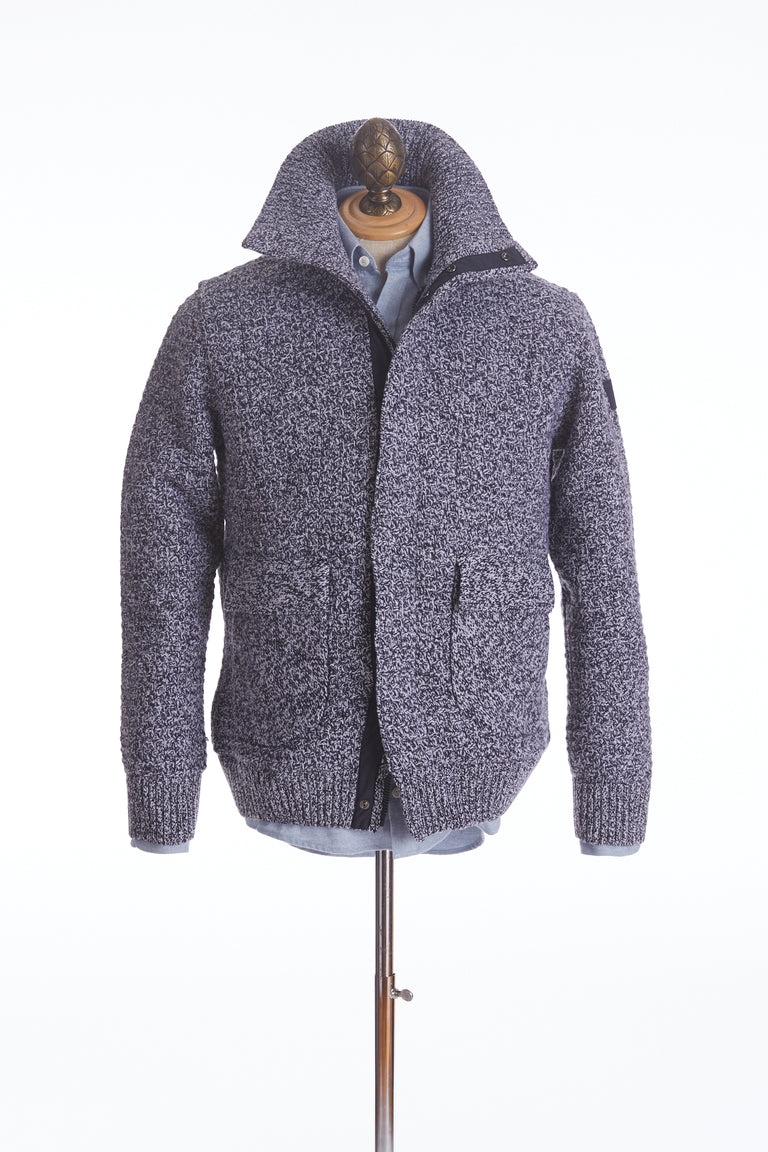 Paul & Shark High Collar Melange Lined Cardigan Sweater