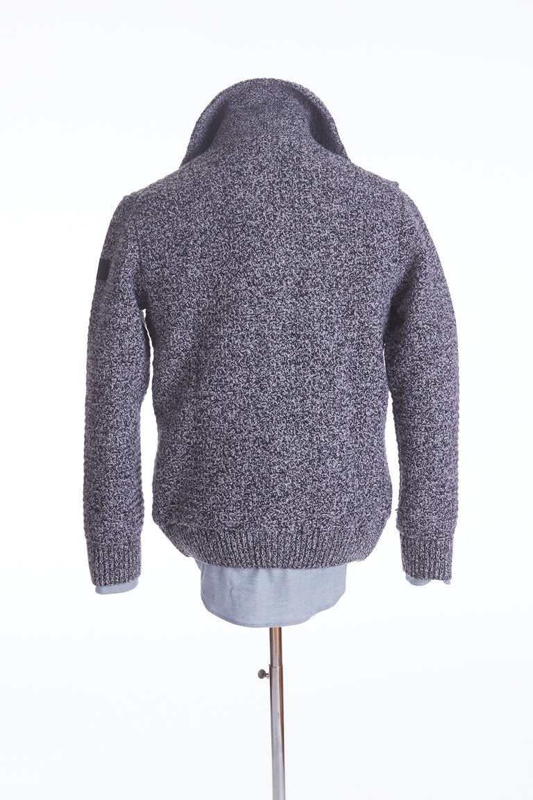 Paul & Shark High Collar Waffle Lined Cardigan Sweater