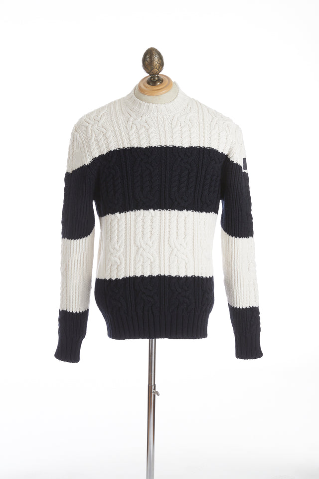 Paul & Shark Two Tone Fisherman Cable Knit Sweater