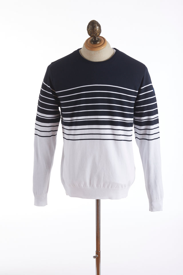 Paul and Shark Striped Navy White Crewneck Sweater