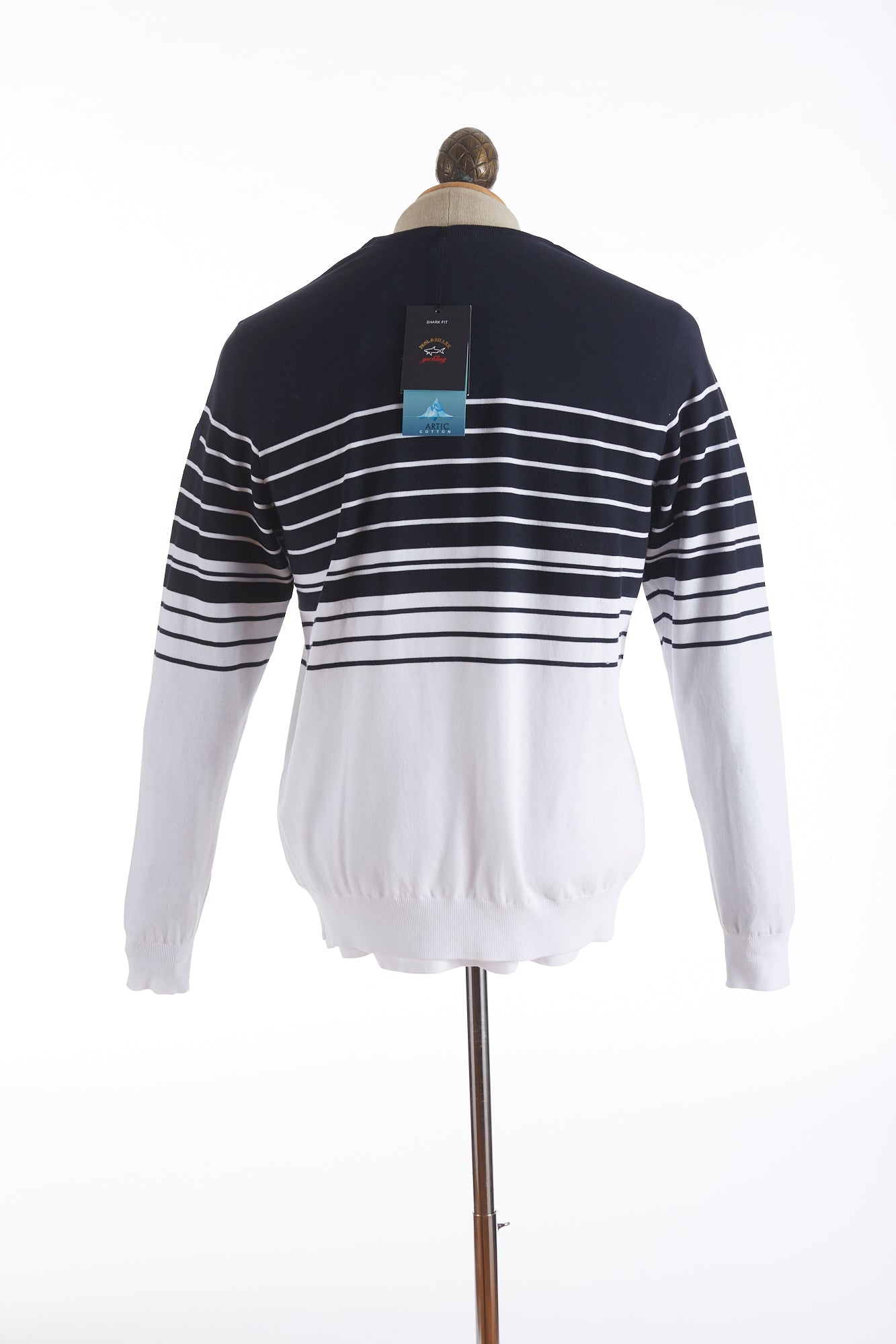 Paul and Shark Striped Navy White Crewneck Sweater Back