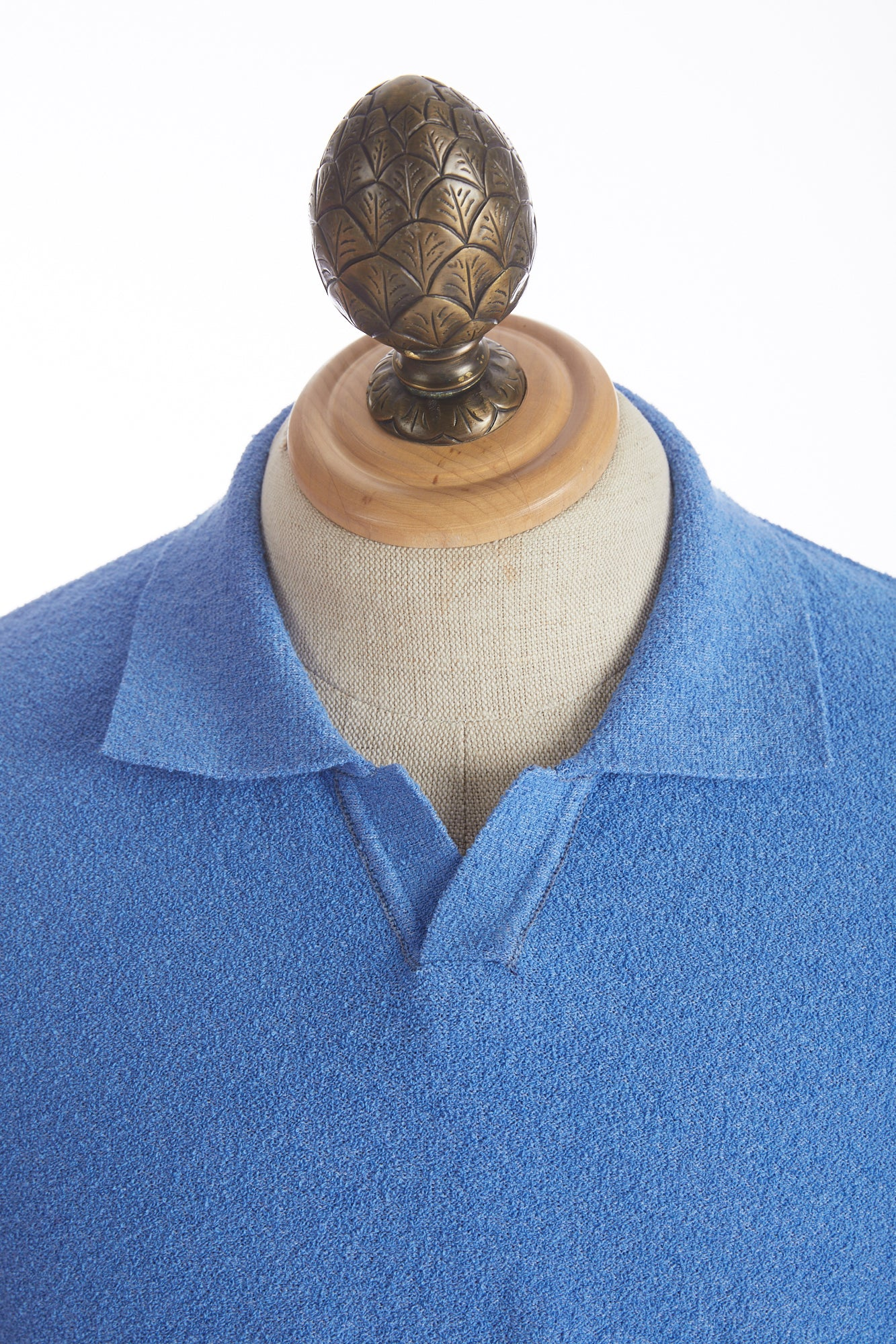 Phil Petter Baby Blue Terry Polo Shirt Collar