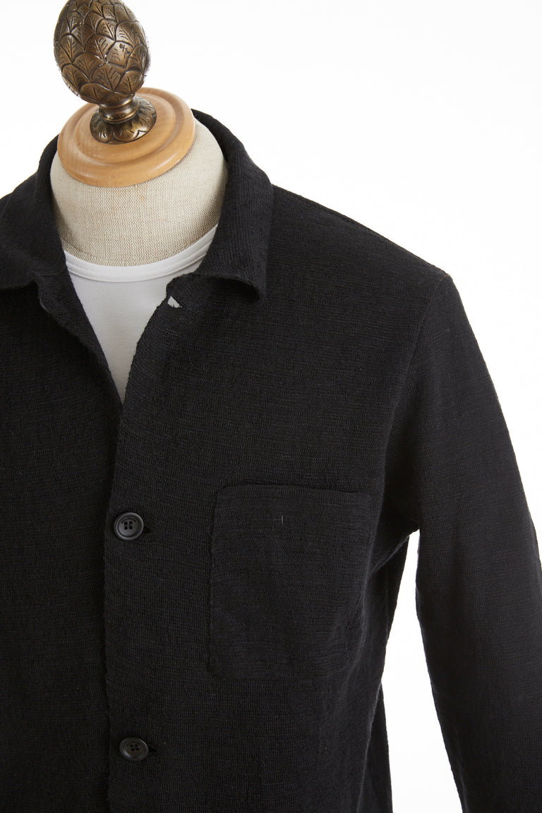Phil Petter Black Linen Sweater Cardigan Collar
