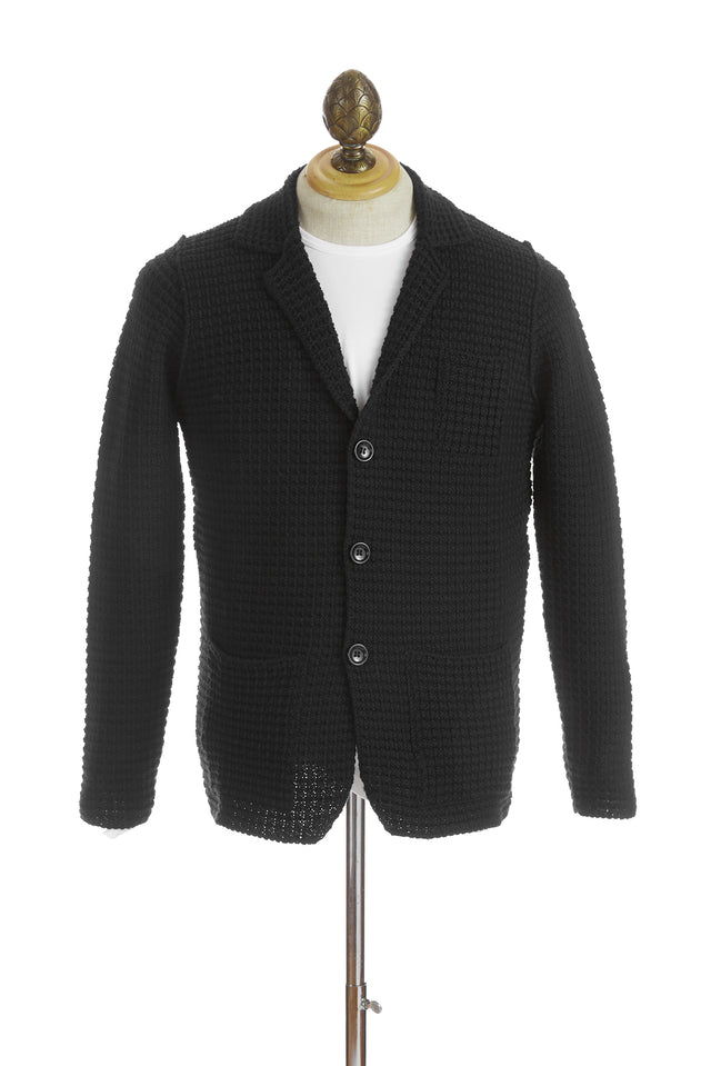 Phil Petter Black Waffle Cardigan Sweater