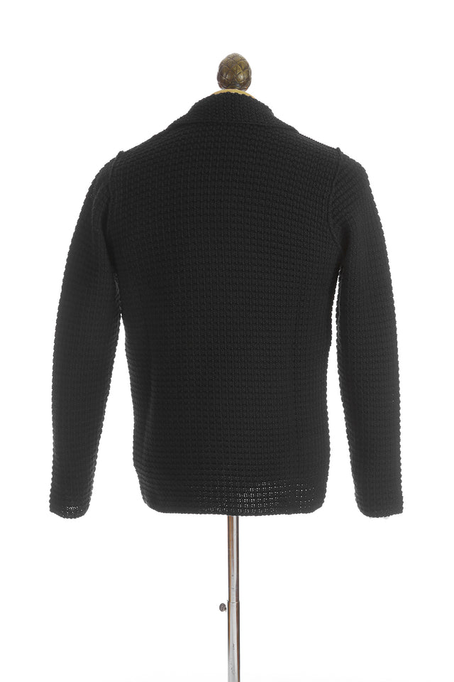 Phil Petter Black Waffle Cardigan Sweater Back