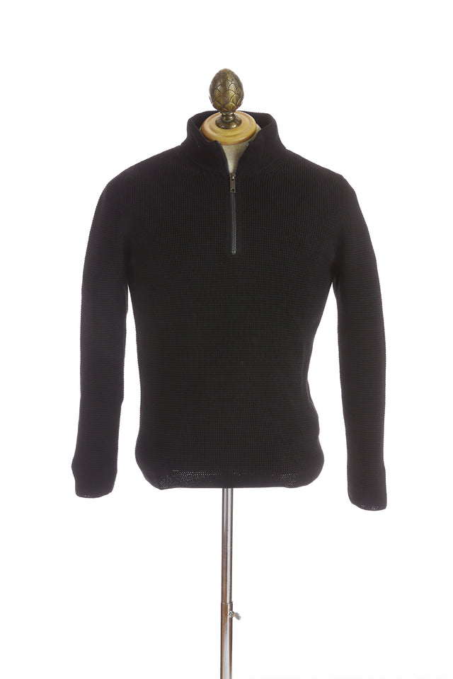 Phil Petter Black Waffle Knit Wool Quarter Zip Sweater