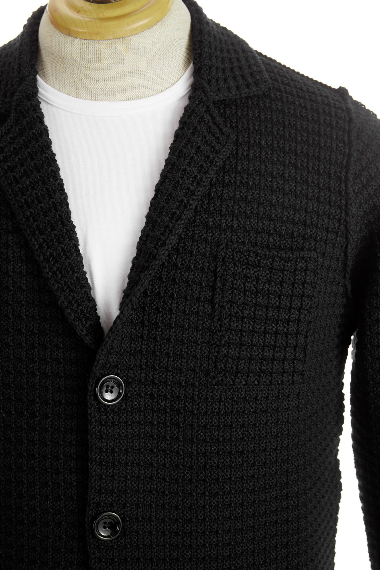 Phil Petter Black Waffle Wool Cardigan Sweater