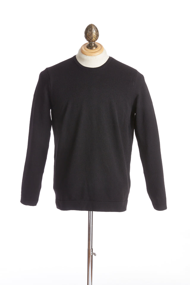 Phil Petter Black Wool Crewneck Sweater Side