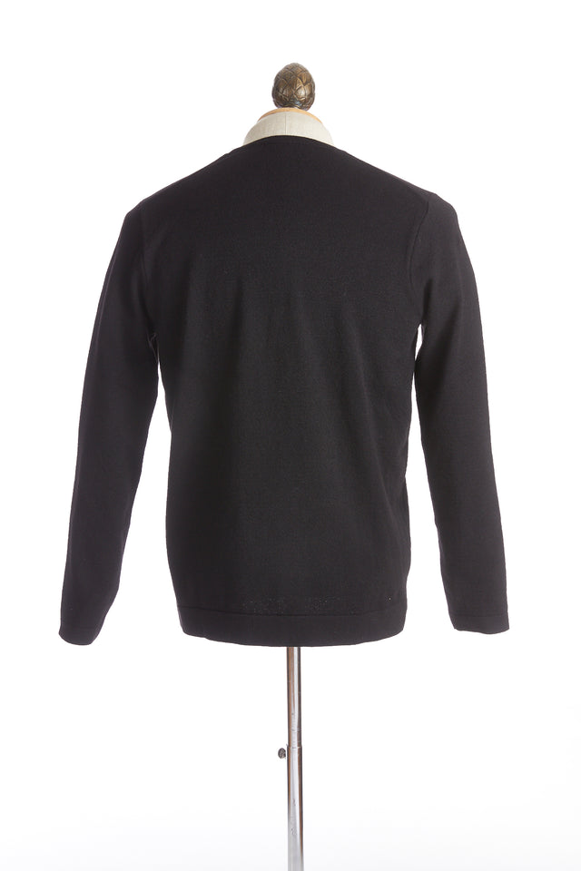 Phil Petter Black Wool Crewneck Sweater Back