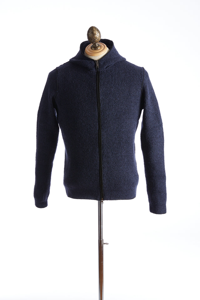Phil Petter Blue Ribbed Wool Hoodie