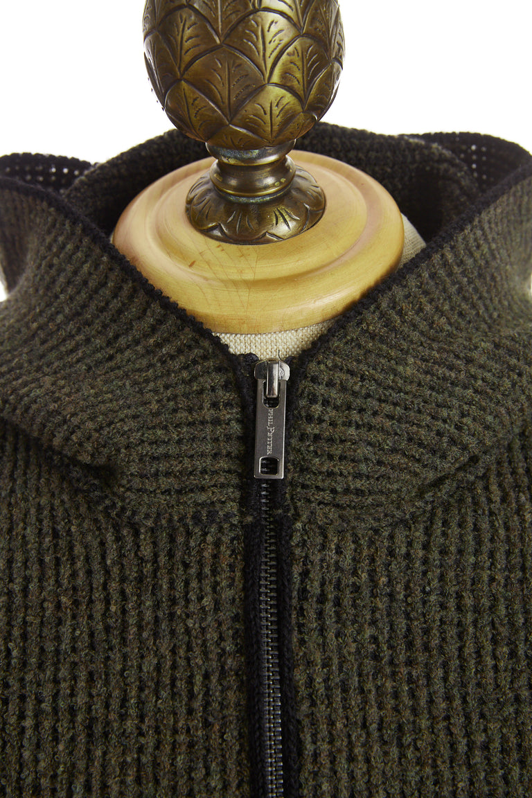 Phil Petter Green Ribbed Wool Full Zip Hoodie