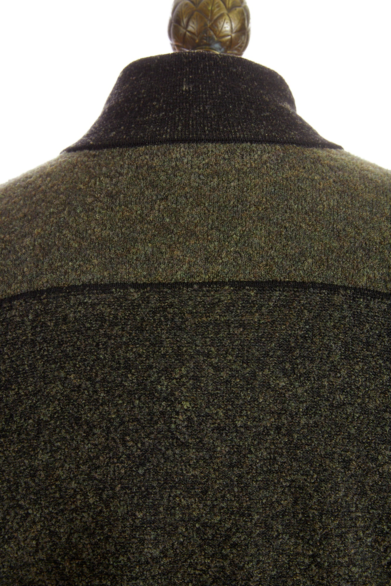 Phil Petter Green Two-tone High Collar Full Zip Sweater