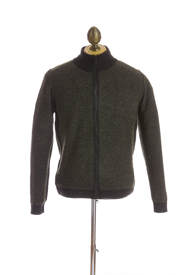 Phil Petter Green Two-tone Wool Full Zip Sweater