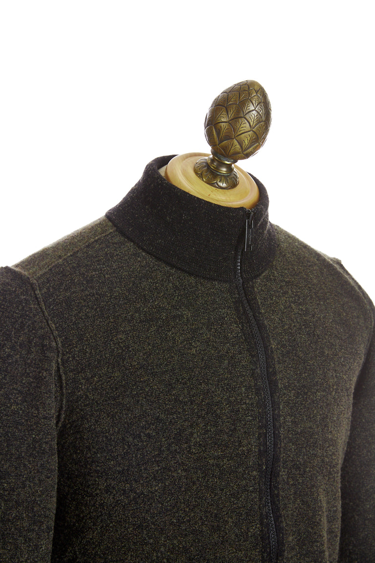Phil Petter Green Two-tone Wool Full Zip Sweater Side