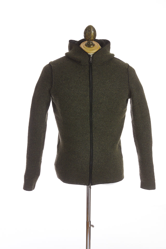 Phil Petter Green Wool Full Zip Hoodie