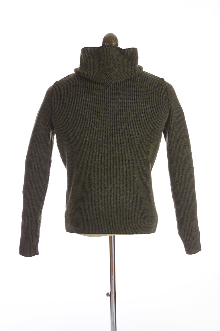 Phil Petter Green Wool Full Zip Hoodie Back