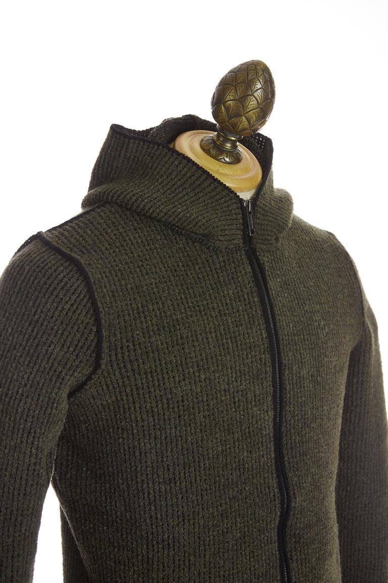 Phil Petter Green Wool Ribbed Full Zip Hoodie