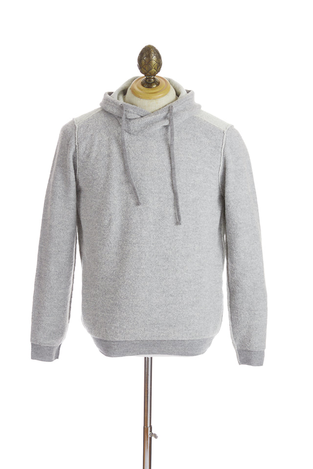 Phil Petter Light Grey Two-tone Bouclé Pullover Hoodie