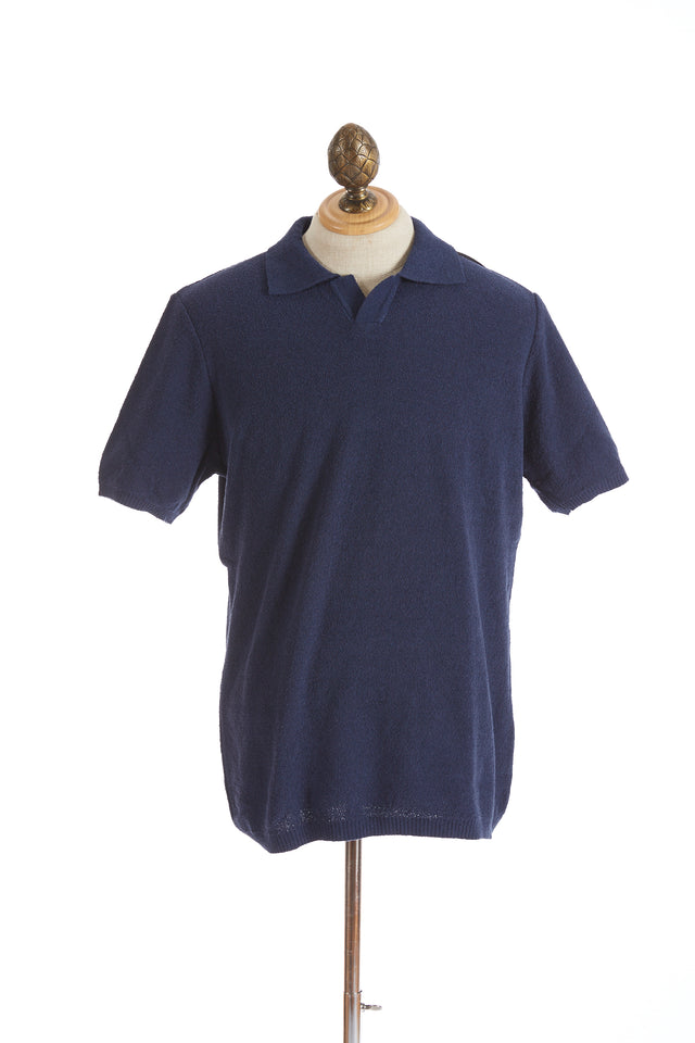 Phil Petter Navy Blue Terry Polo Shirt