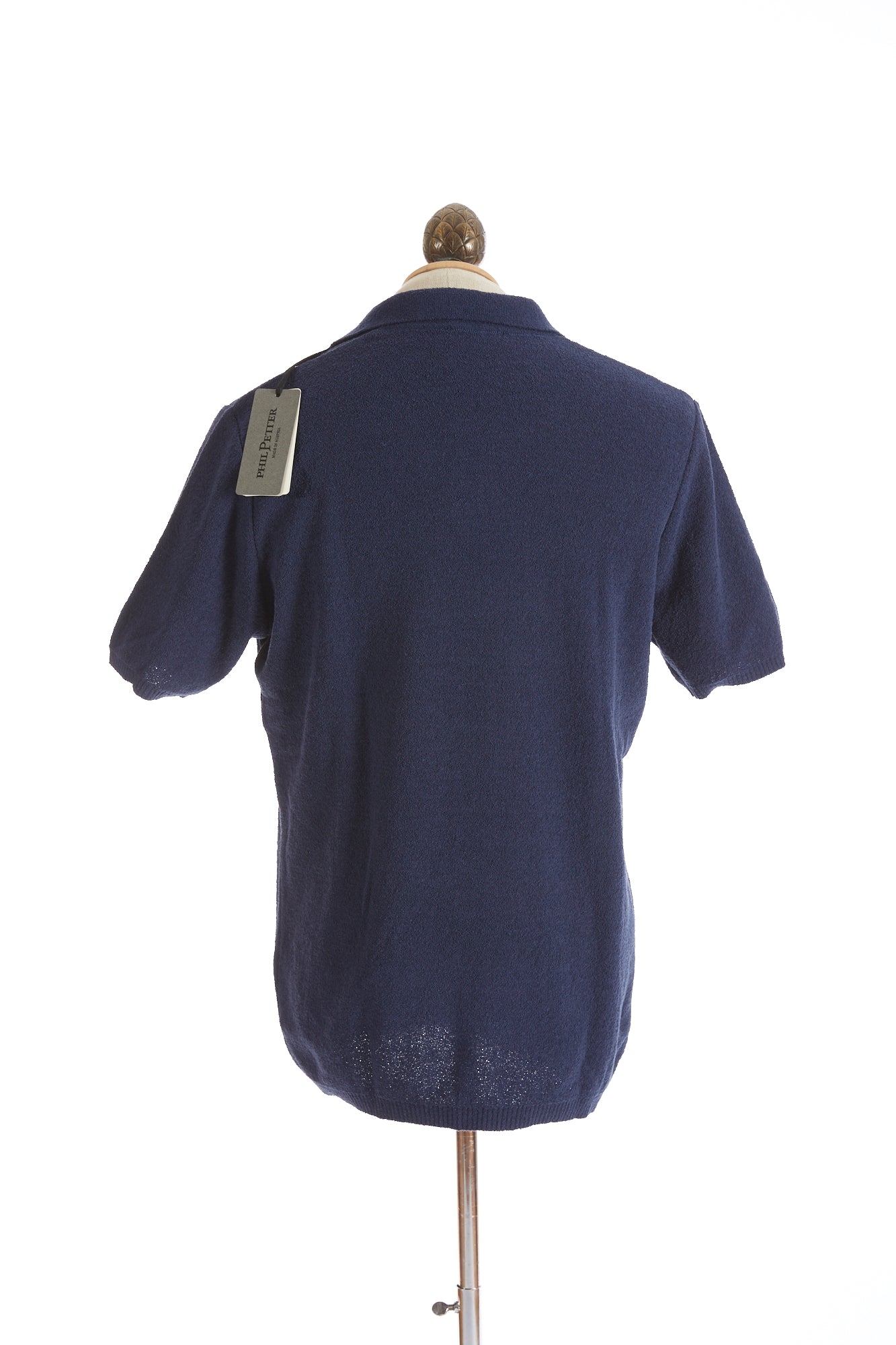 Phil Petter Navy Blue Terry Polo Shirt Back