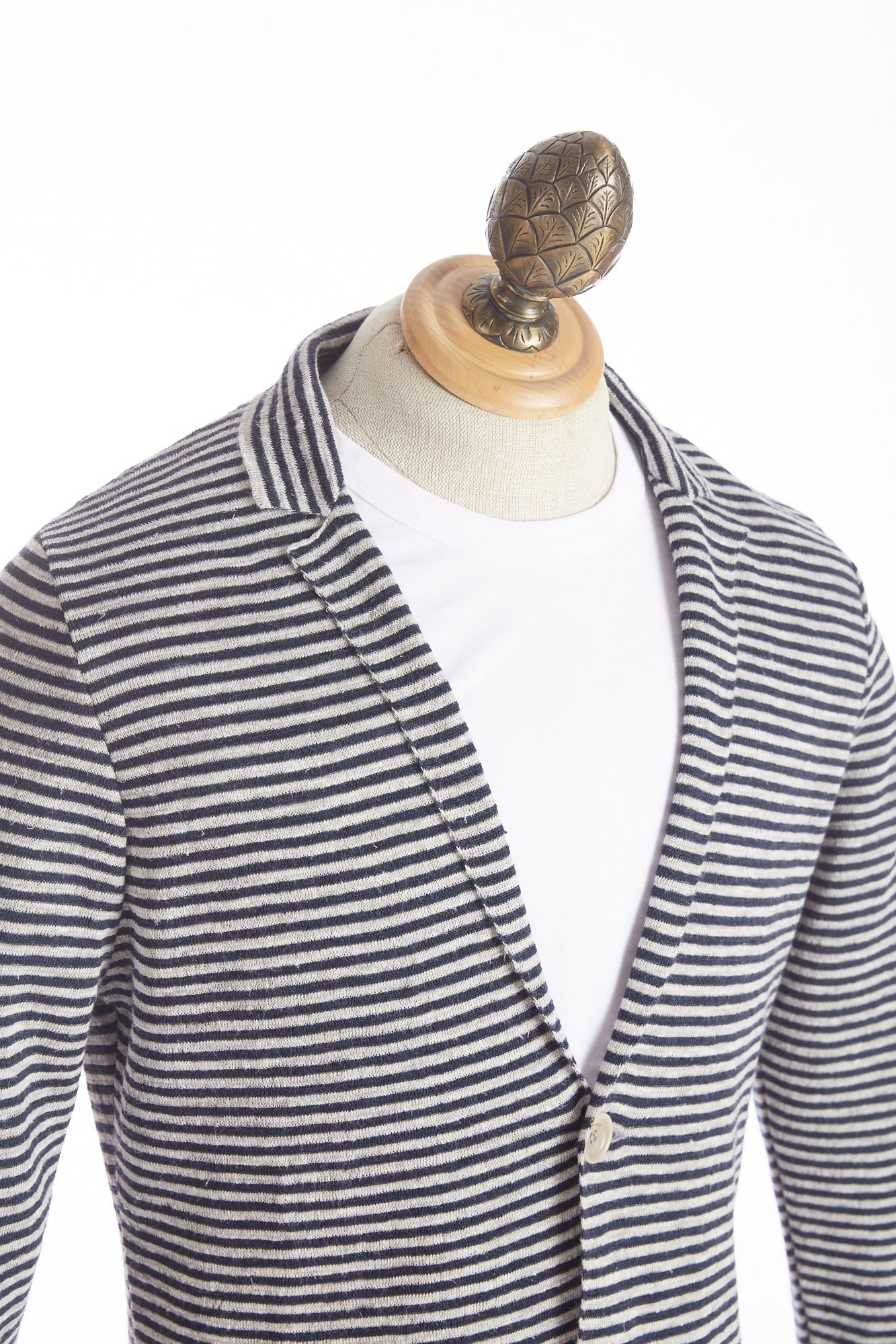 Phil Petter Navy Linen Striped Sweater Jacket