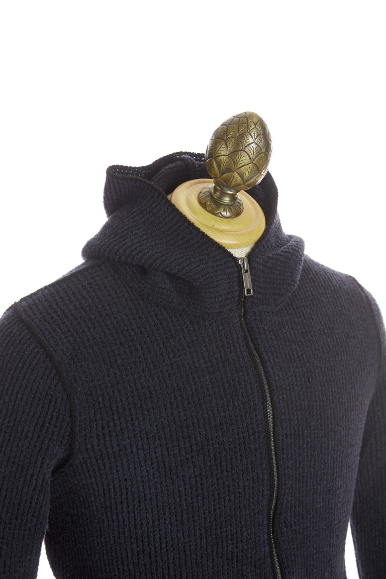 Phil Petter Navy Ribbed Wool Full Zip Hoodie