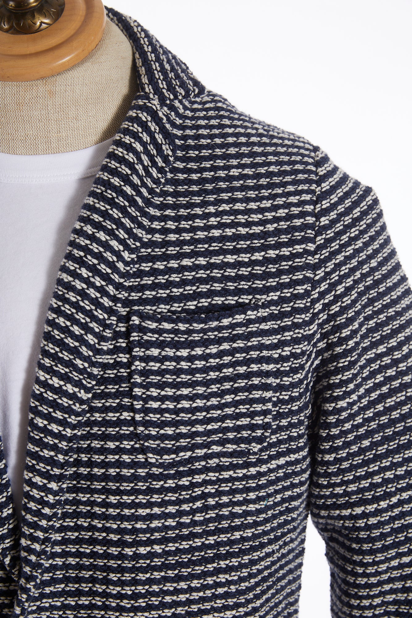 Phil Petter Navy Roped Cotton Sweater Jacket Lapel
