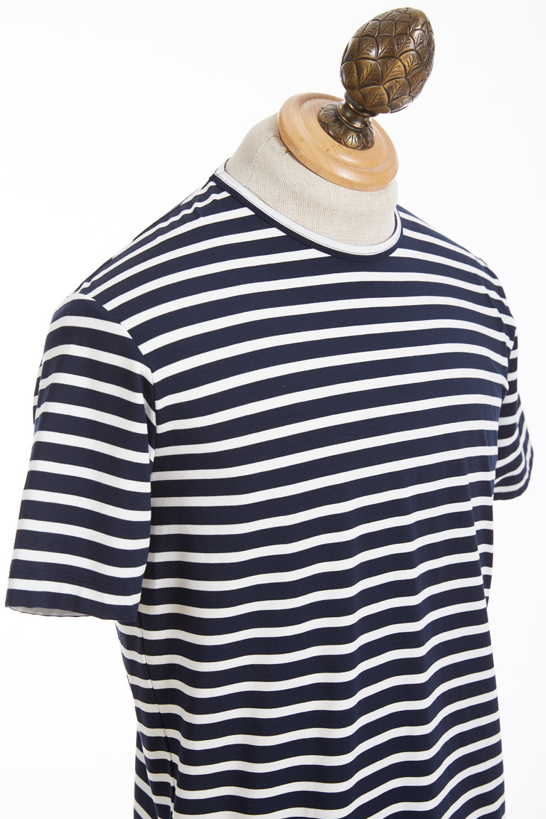 Phil Petter Navy Stripe Jersey Stretch T-Shirt