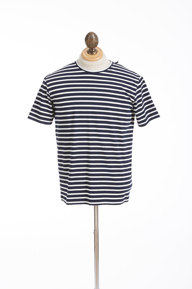 Phil Petter Navy Striped Jersey Stretch T-Shirt