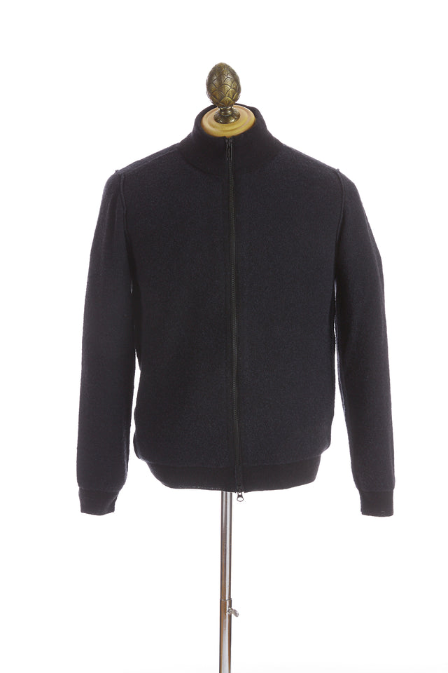 Phil Petter Navy Two-tone Wool Full Zip Sweater