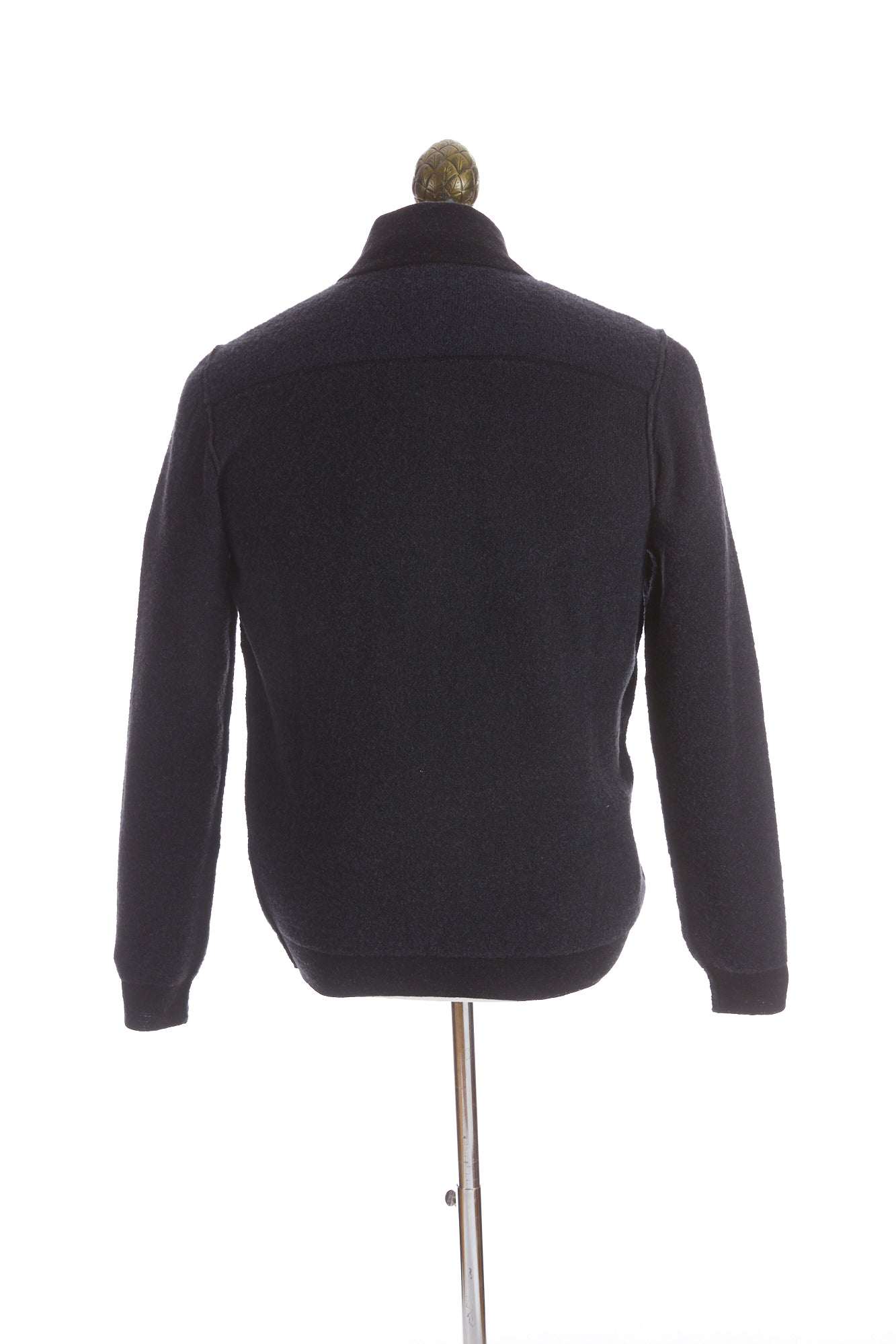 Phil Petter Navy Two-tone Wool Full Zip Sweater Back