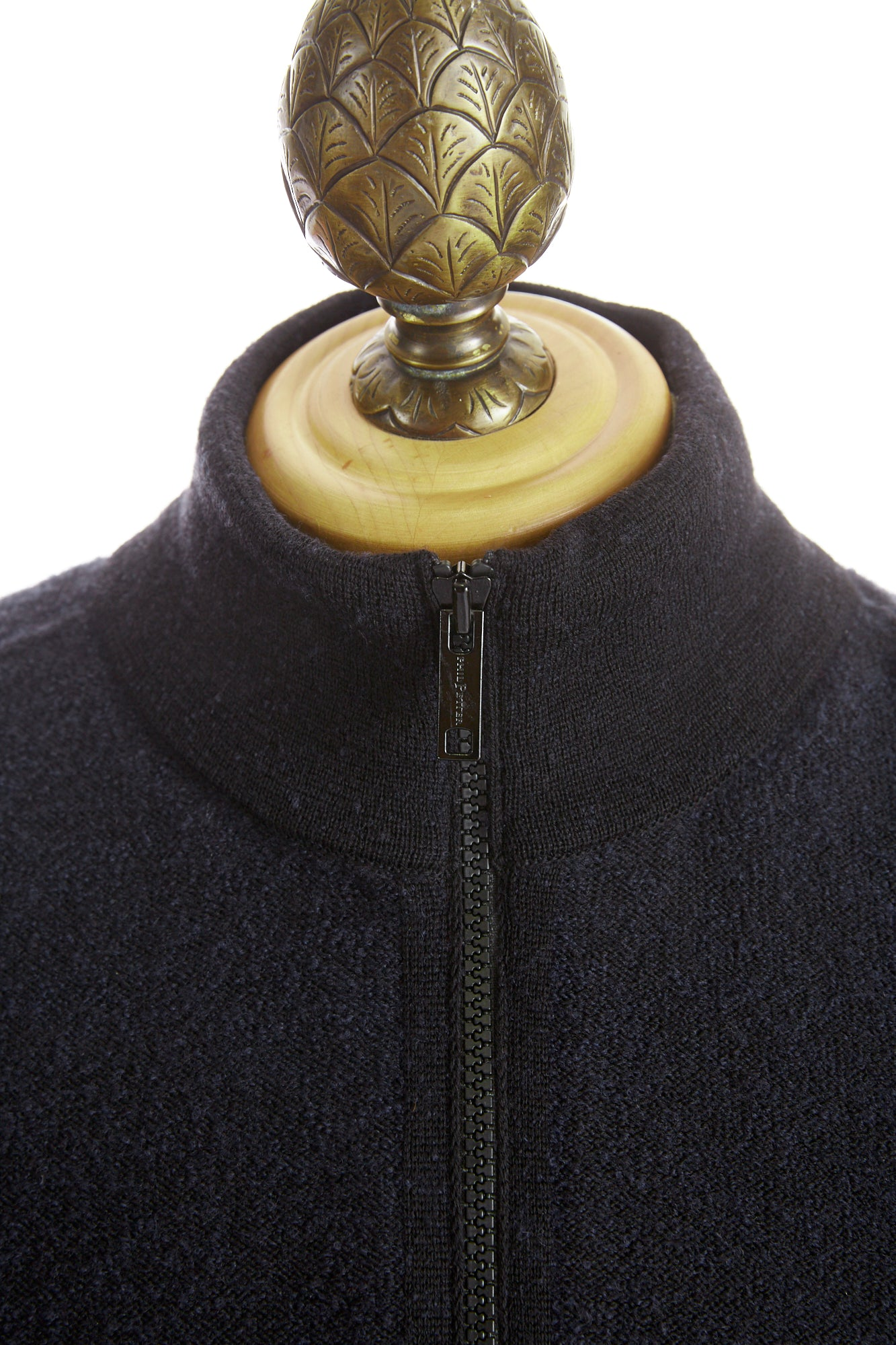 Phil Petter Navy Two-tone Wool Full Zip Sweater Front