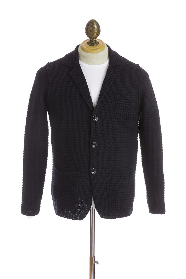 Phil Petter Navy Waffle Knit Cardigan Sweater