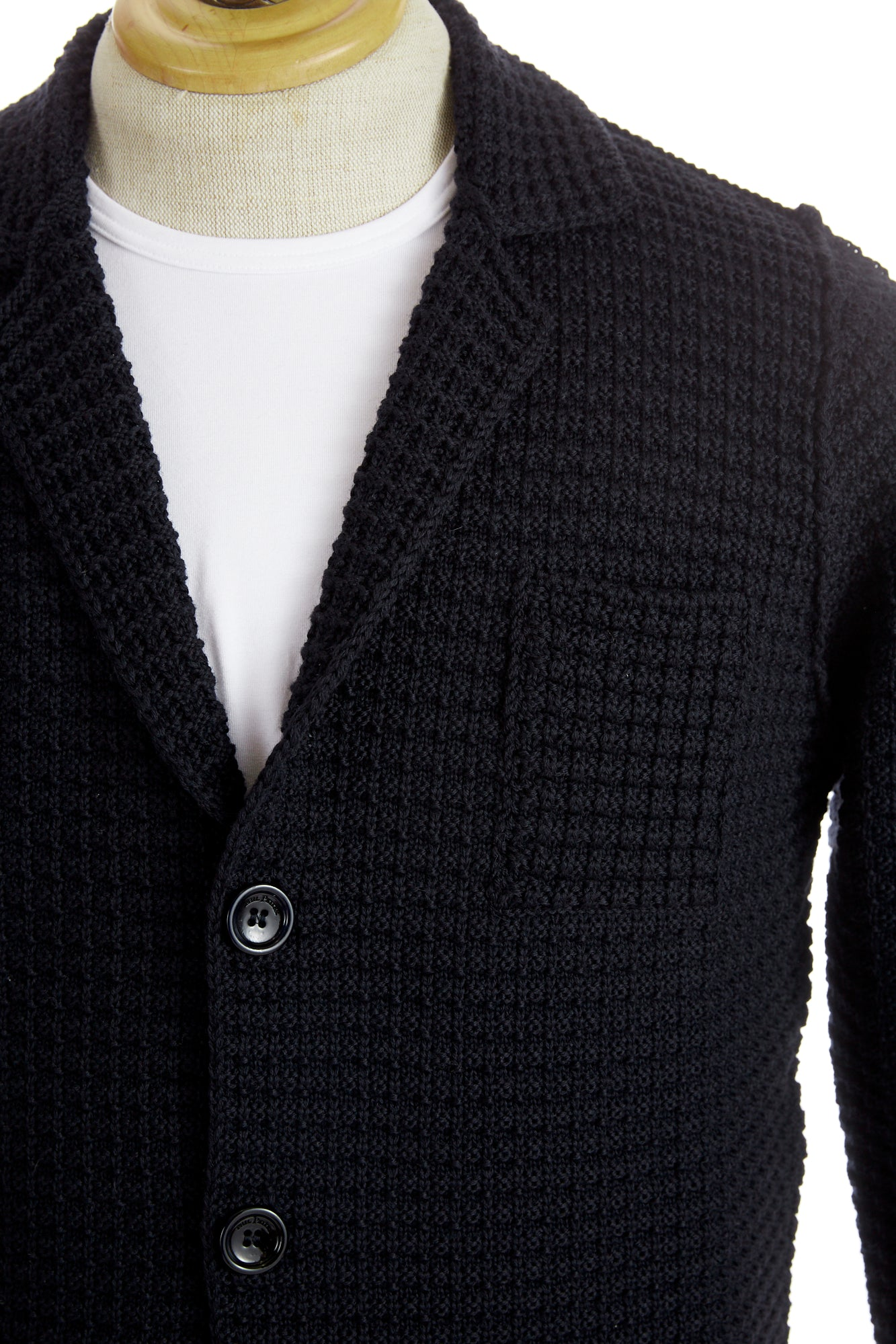 Phil Petter Navy Waffle Knit Cardigan Sweater Lapel