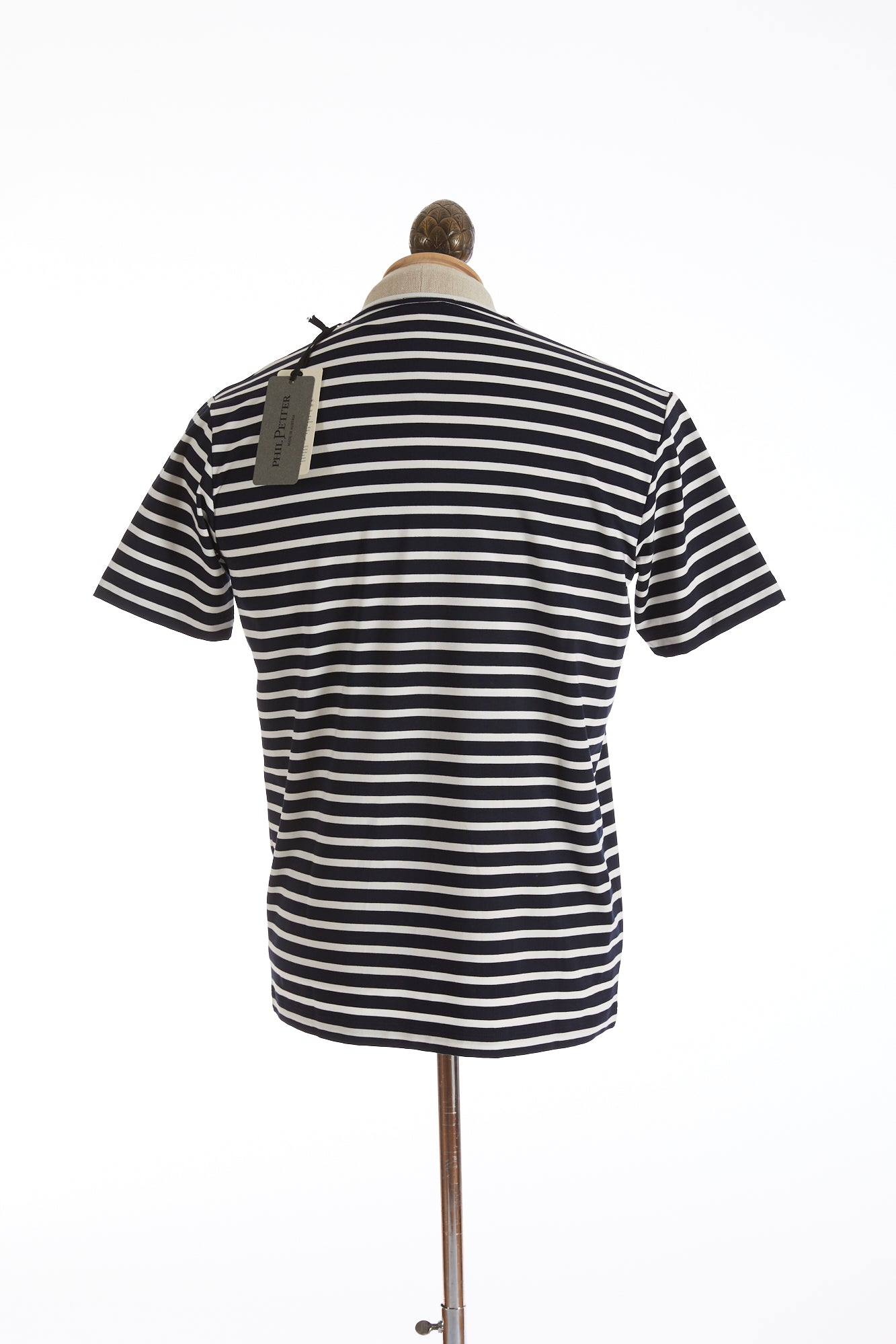 Phil Petter Navy White Striped Stretch T-Shirt Back