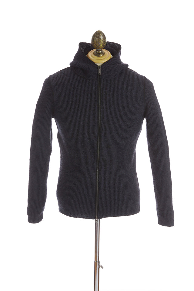 Phil Petter Navy Wool Full Zip Hoodie