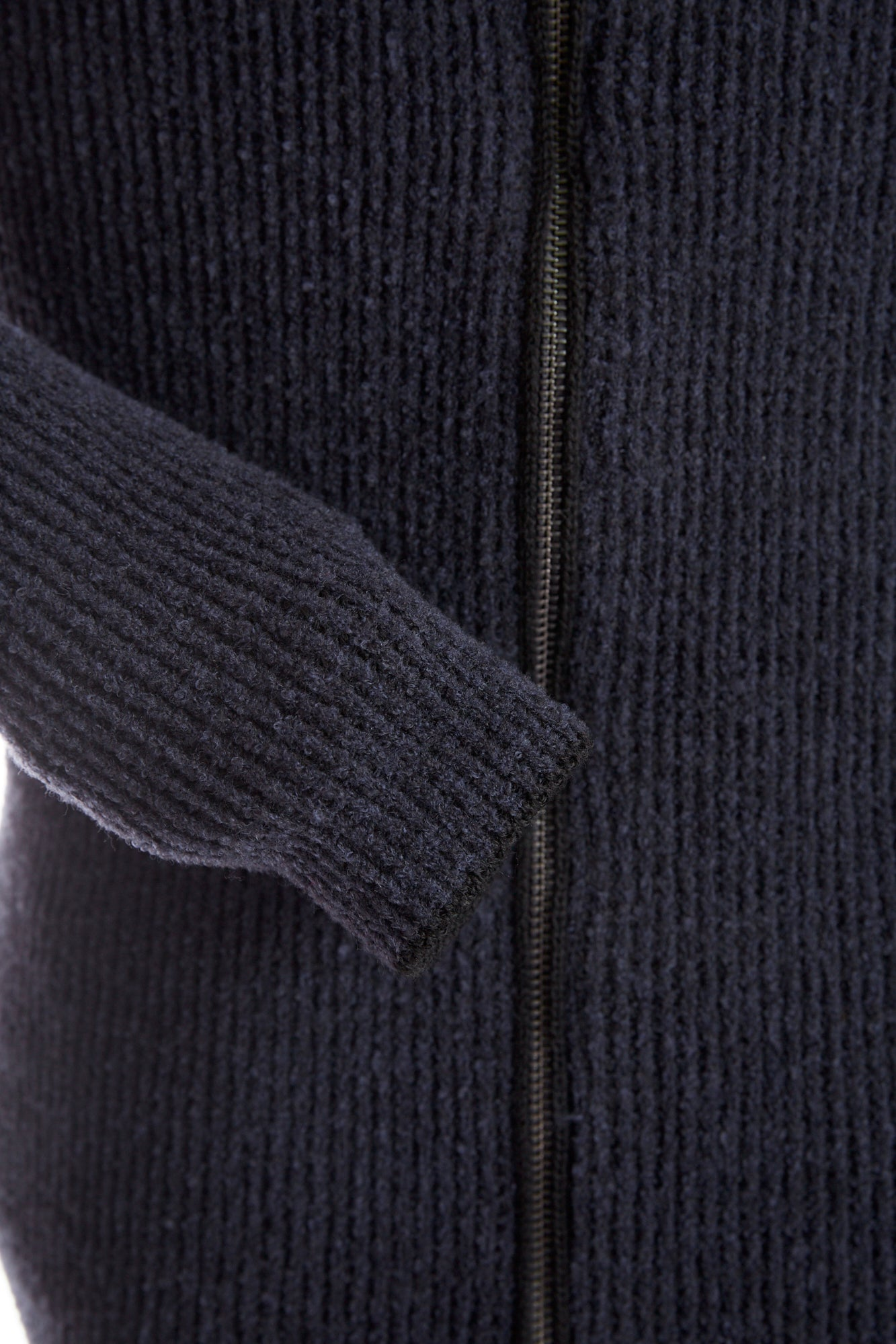Phil Petter Navy Wool Full Zip Hoodie Cuff