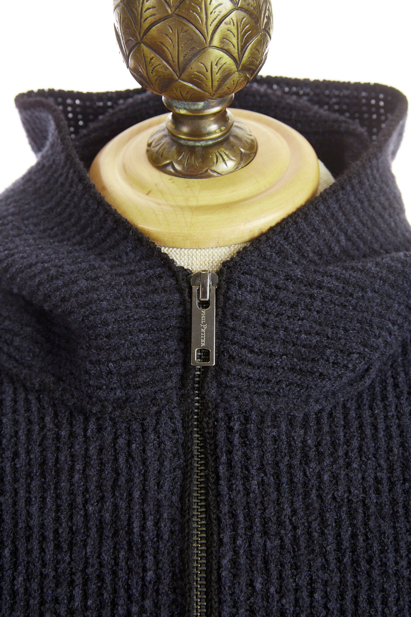 Phil Petter Navy Wool Full Zip Hoodie Front