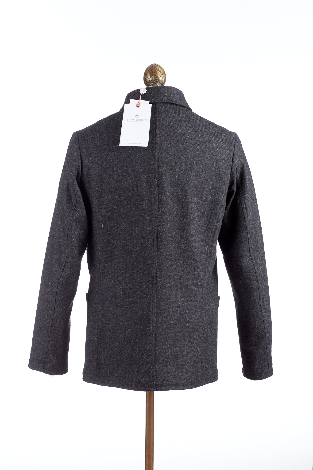 Private White V.C. Grey Wool Button-up Shacket Back