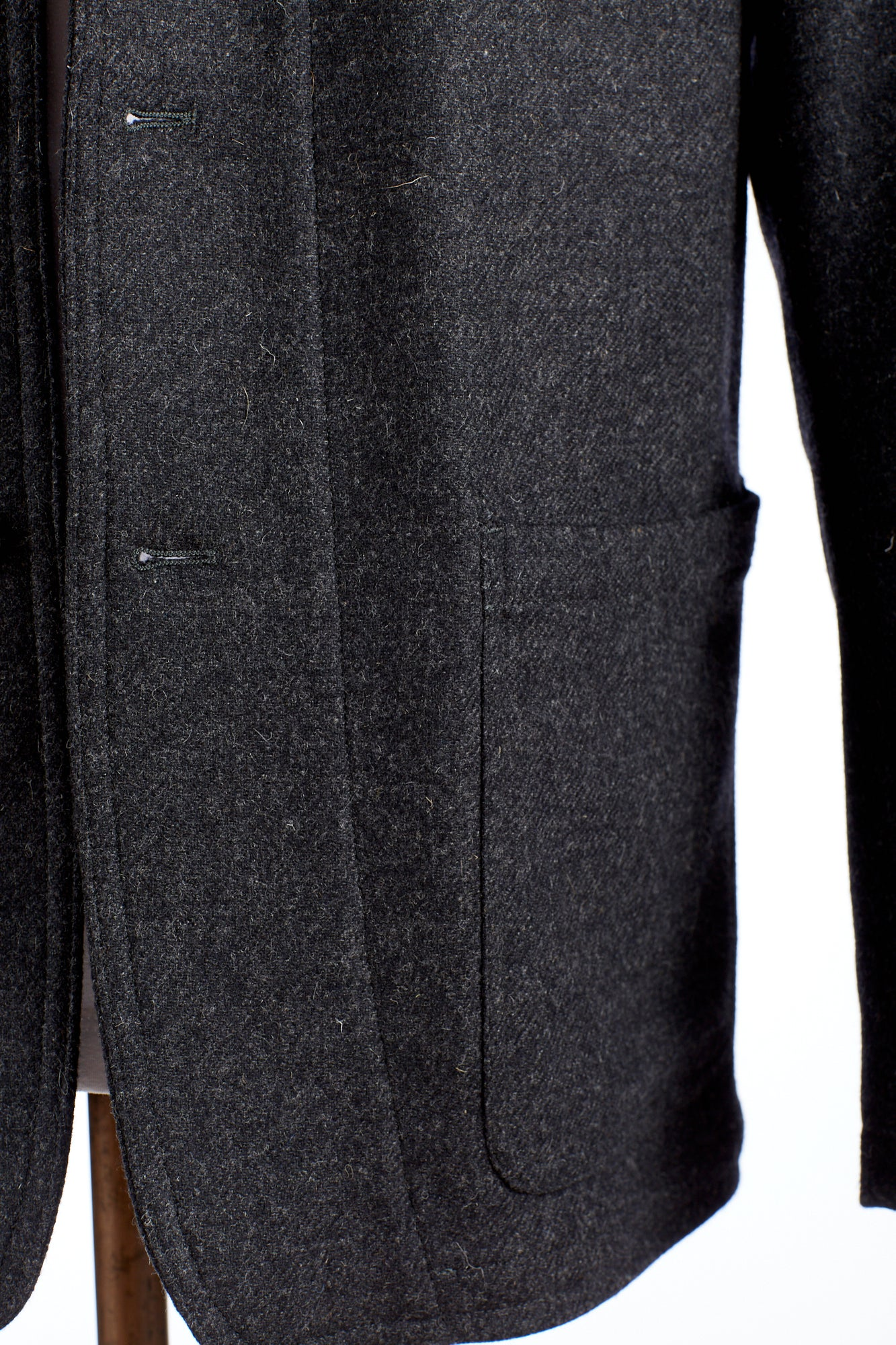 Private White V.C. Grey Wool Button-up Shacket Pocket