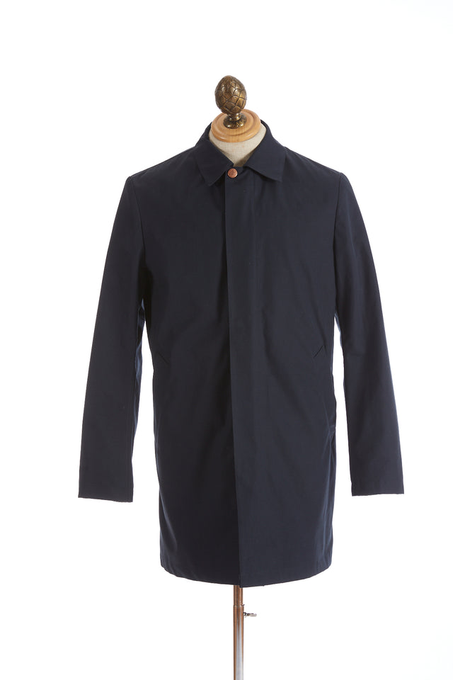 Private White V.C. Navy Cotton Ventile® Unlined Mac Coat