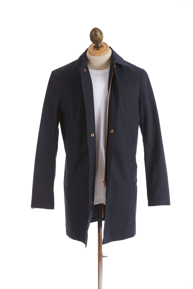 Private White V.C. Navy Cotton Ventile® Unlined Mac Coat Open