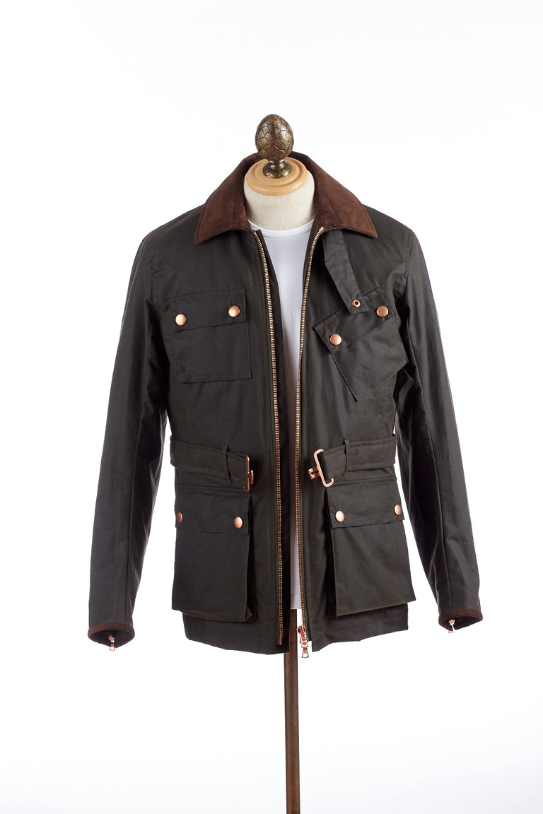 Private White V.C. Olive Green Wax Motorcycle Jacket