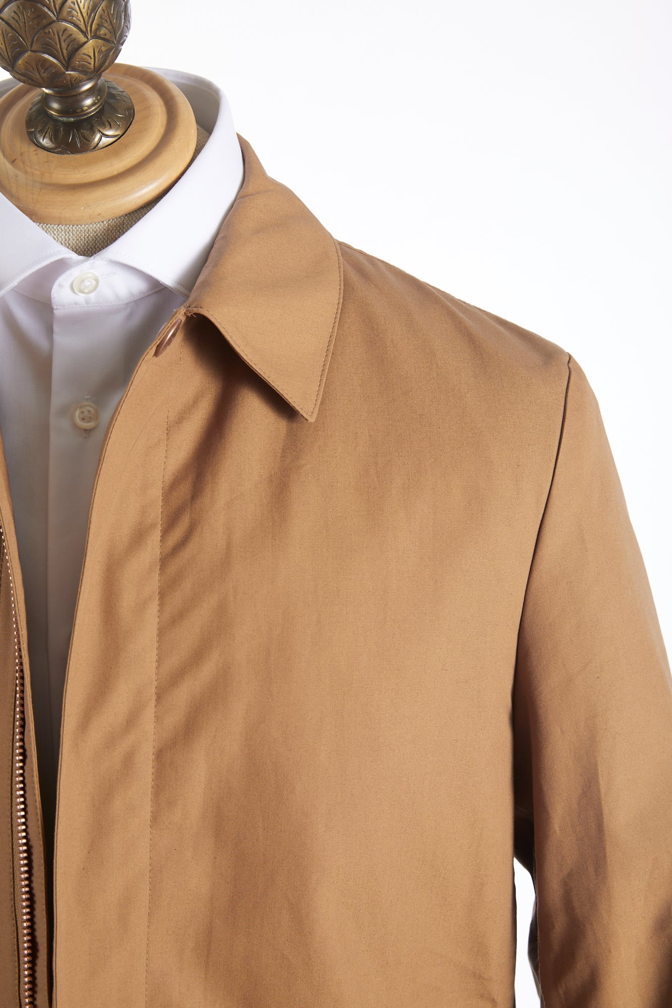 Private White V.C. Tan Cotton Ventile® Unlined Mac Coat Front