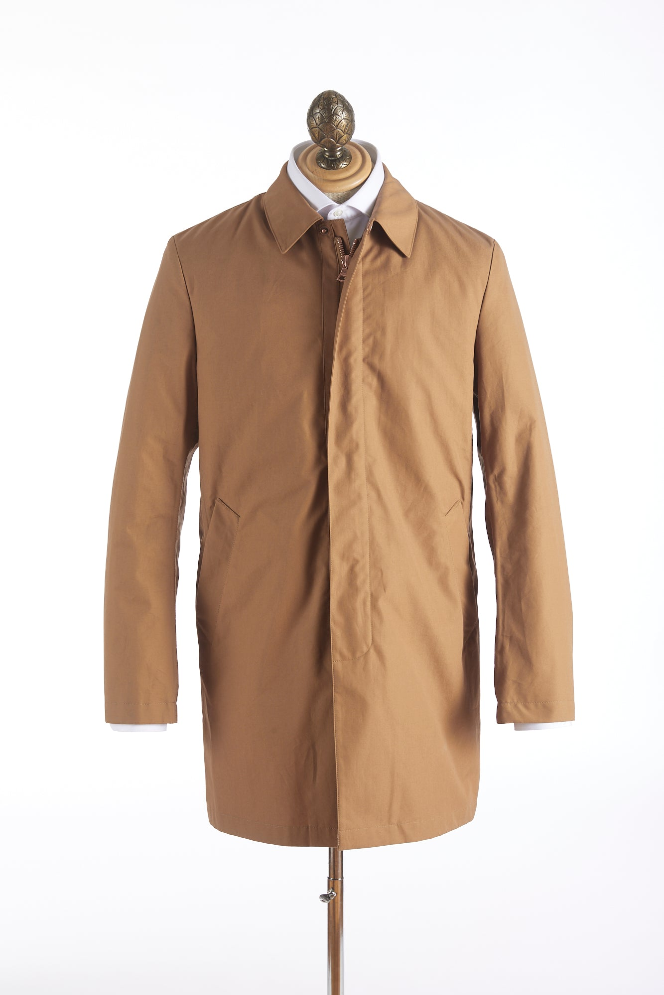 Private White V.C. Tan Cotton Ventile® Unlined Single Breasted Mac Coat