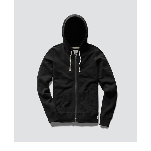 Reigning Champ Mid Weight Black Terry Hoodie Full Zip - WOMENS