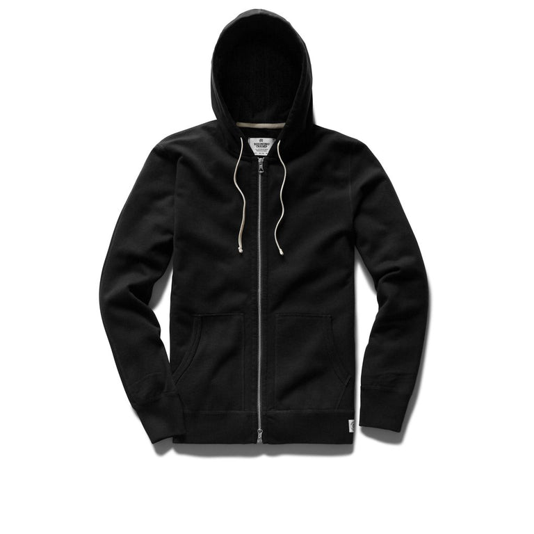Reigning Champ Mid Weight Black Terry Hoodie Full Zip