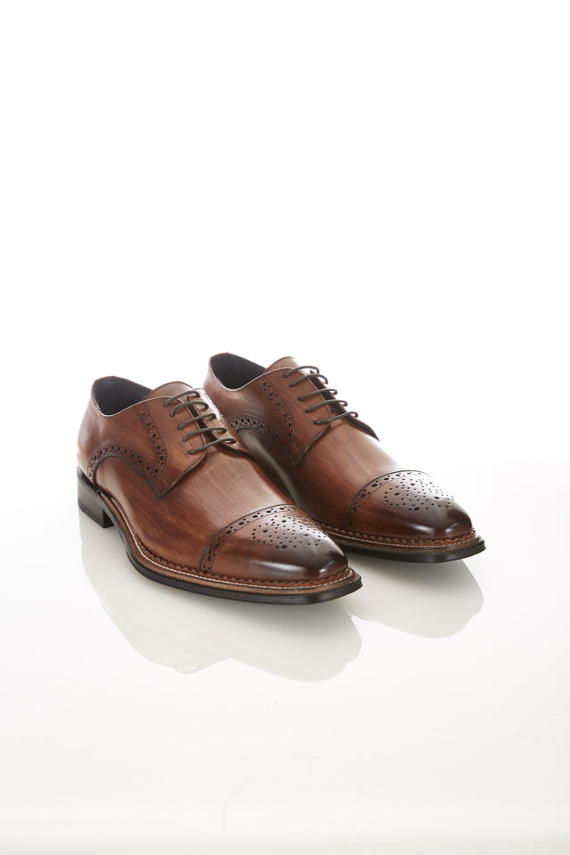 Raffaele D'Amelio Brown Medallion Cap Toe Shoe